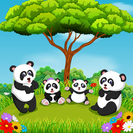 the beautiful view with some panda playing together under the tree Banque d'images - 108805721