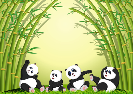 the panda action playing together under the bamboo Standard-Bild