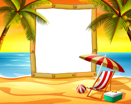 the wooden frame blank space with the sunset beach background and some coconut trees Illustration