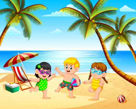 the beautiful view with three children playing in the beach under the blue sky Иллюстрация