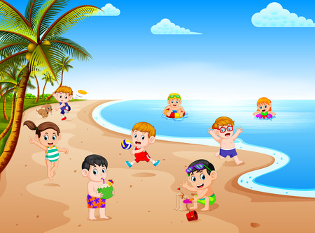 the summer view with a grup of children playing and swimming in the beach on the sunny day