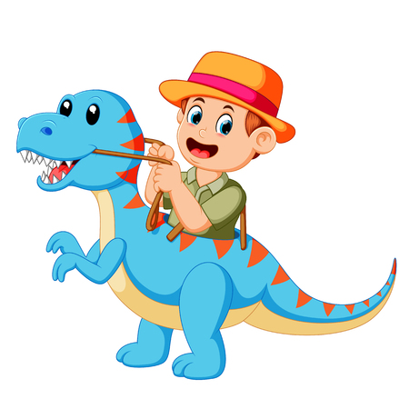 the boy playing and using the blue Tyrannosaurus Rex costume