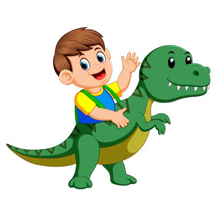the boy using the Tyrannosaurus Rex costume and waving his hand Illustration