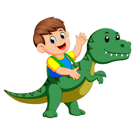 the boy using the Tyrannosaurus Rex costume and waving his hand Stock Illustratie