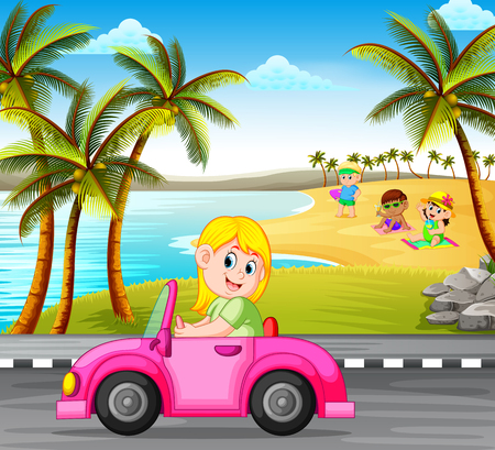 the woman drives the pink car on the street with the beautiful beach background Иллюстрация