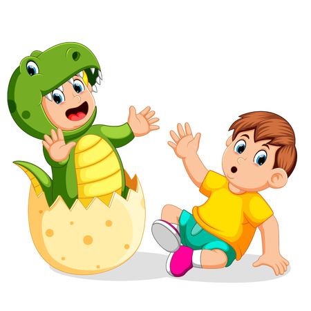the boy shocked when his friend came out from the egg and using the Tyrannosaurus Rex costume Vettoriali