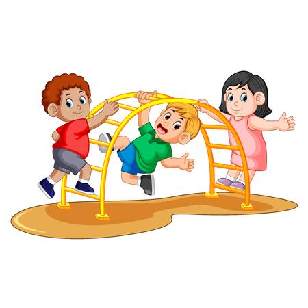 kids playing climbing metal monkey bar on backyard