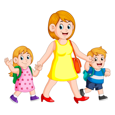 a woman holding her children hands for accompany them to school