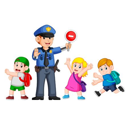 la policía usa el letrero de parada para ayudar a los niños a pasar la cruz de cebra
