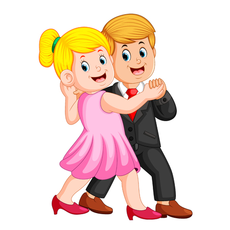 the woman using the pink dress and the man using the coat dancing together Illustration