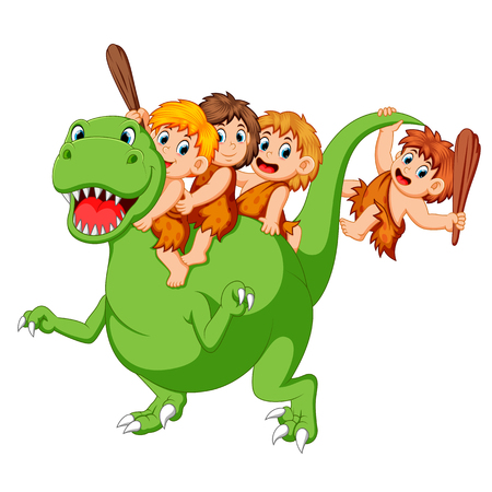 a group of ancient children playing with the Tyrannosaurus Rexs body and sitting on it Stockfoto