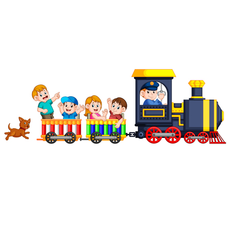 the children and engineer of locomotive get into the train and the dog follow them at the back Imagens