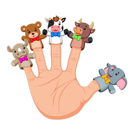 Hand trägt süße 5-Finger-Puppen