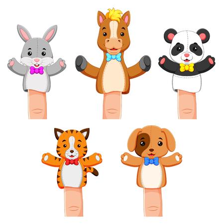 une drôle de collection d'animaux de compagnie de marionnettes