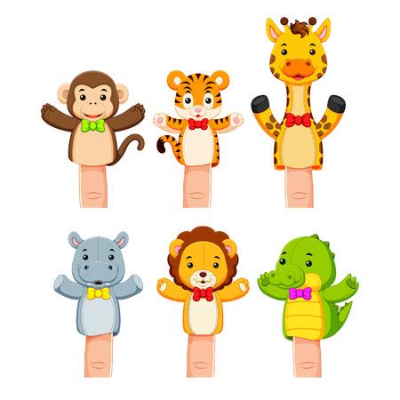 interesante colección de marionetas de animales salvajes Ilustración de vector