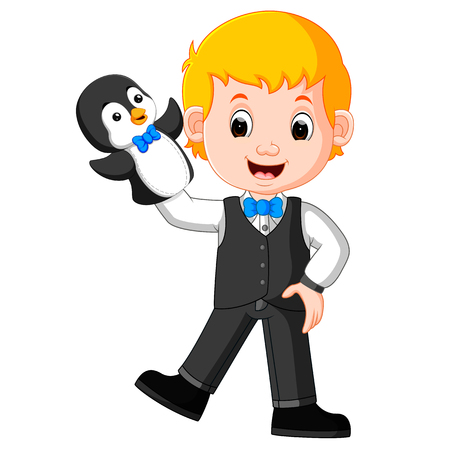 the boy was using penguin puppet with blue bow tie Ilustrace