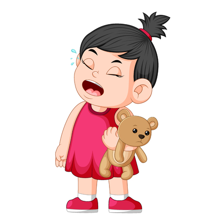 a girl crying while holding a brown teddy bear Ilustração