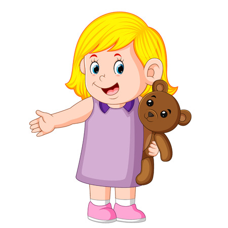 a girl funny playing with the cute brown teddy bear