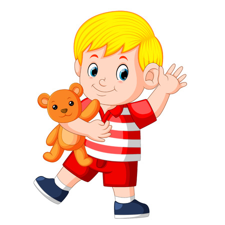 a cute boy play with the orange teddy bear Illustration