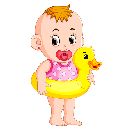 the baby happy wearing buoy duck