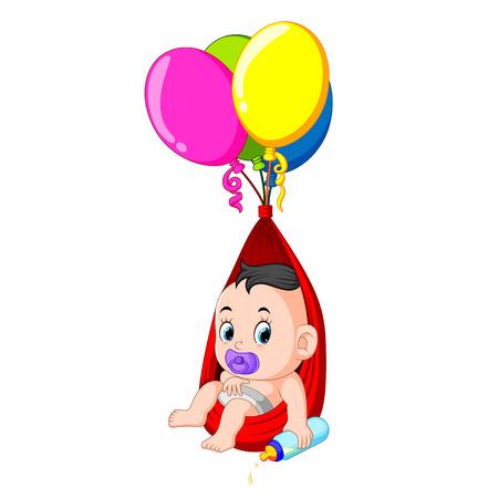 a baby enjoy under a balloon while holding a pacifier Ilustração