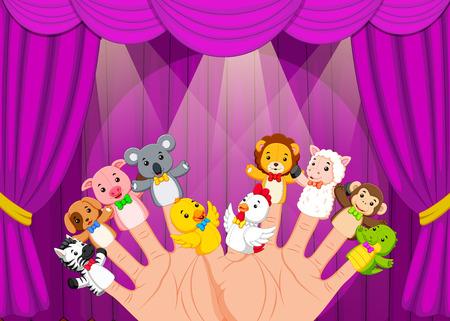 Mano con 10 marionetas de dedo en el escenario