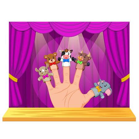 Mano con 5 marionetas de dedo en el escenario Ilustración de vector
