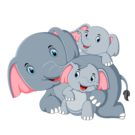an elephant have fun play with their family Ilustracja