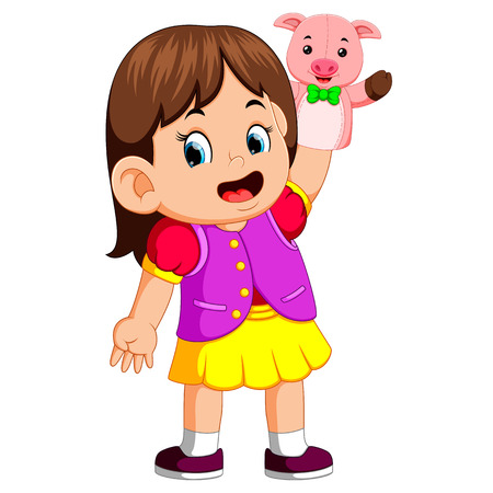 the girl was using cute pig puppet
