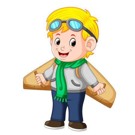 Cute little boy playing with plane toys Ilustração Vetorial
