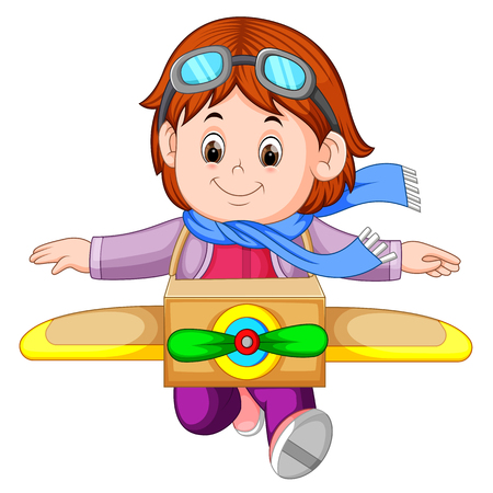 Cute little girl playing with plane toys 矢量图像