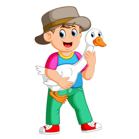 a Farm boy holding a goose Illustration
