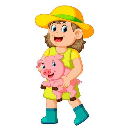 a Farm Girl holding a Pig