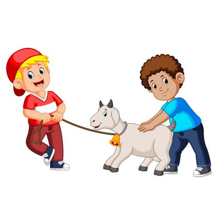 zwei Kinder spielen mit Ziege