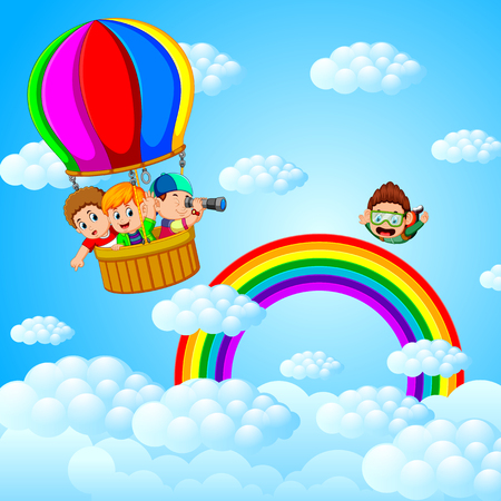 happy kids flying in a hot air balloon and skydiver Ilustração