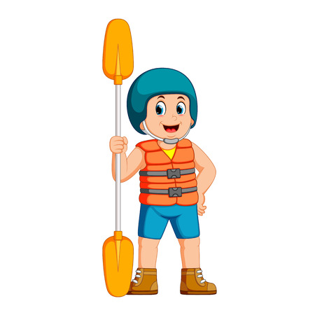 young man with paddle and a safety vest Vectores