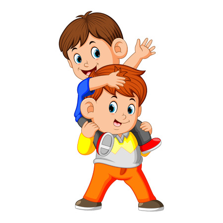 a happy little boy carrying her brother