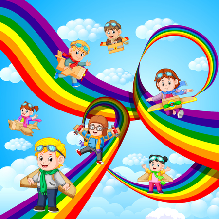 happy kids playing cardboard plane flying over the rainbow 向量圖像