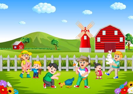 famille et enfants jouant à la ferme s'amusant Vecteurs