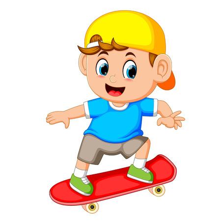happy boy playing skateboard