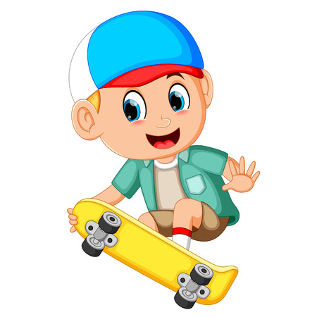 Cartoon of boy on a skateboard and smile  イラスト・ベクター素材