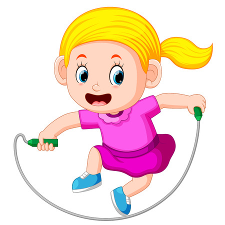 Young girl skipping Illustration