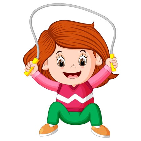 happy girl humping exercising with skipping rope Vecteurs