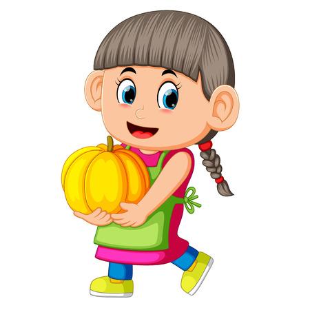 happy girl holding pumpkin Foto de archivo - 111165093