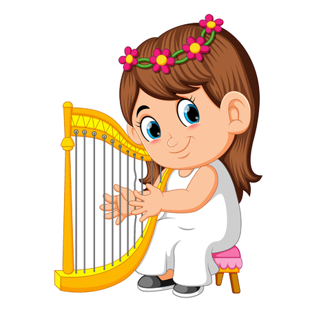 a beautiful girl with long brown hair playing the harp