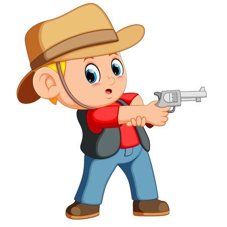 Cute boy dressed as a cowboy with revolver Vectores
