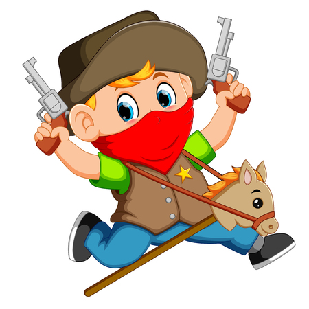 Cute little boy running with a horse on a stick and two guns toy Vectores