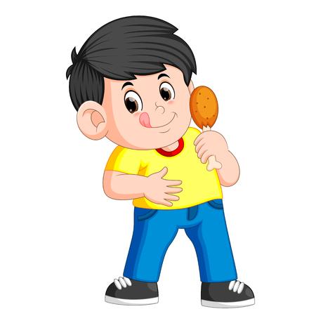 garçon mignon mangeant un poulet frit Vecteurs