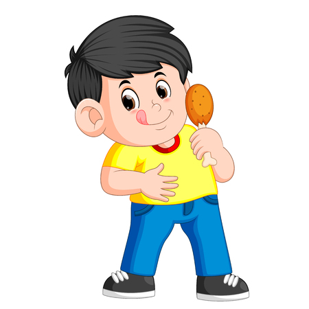 ragazzo carino che mangia un pollo fritto nel grasso bollente Vettoriali