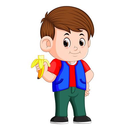 Healthy little boy eating banana Vetores